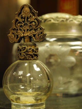 A small collection of fancy vintage perfumes bottles.