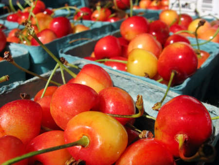 Basket of lovely red cherries for sale at the farmer Editorial