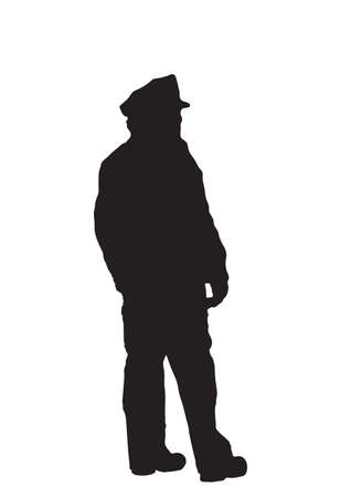 Black silhouette on white background of a uniformed police officer. Stock Photo - 11840071
