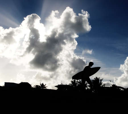 A surfer, in black silhouette against a blue sky with clouds and rays of sunlight, carries his board across the sand with palm trees and seagulls in the background. Stock Photo - 16565725