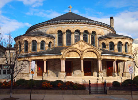 The Greek Orthodox Cathedral of the Annunciation, on Preston St  in Baltimore, MD, on a sunny winter day  Stock Photo