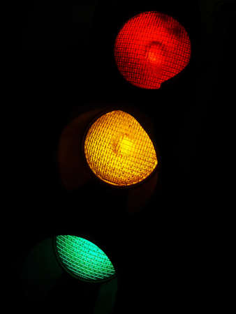 Red, Yellow, and Green traffic lights in the dark.