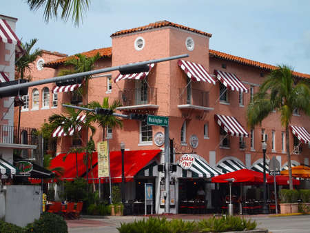The Espanola Way area of South Beach, in Miami Florida, also known as Historic Spanish Village.