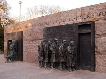 A bronze sculpture called The Breadline, by sculptor George Segal, is part of the Franklin Delano Roosevelt Memorial in Washington, D C