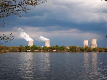 THREE MILE ISLAND - MAY 3: Three Mile Island Nuclear Power plant cooling towers on May 3, 2014 at Three Mile Island.