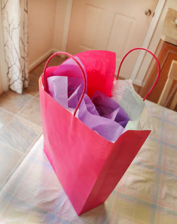 woman s bag: A pink gift bag with twine handles and stuffed with pretty tissue paper sits on a table by the door