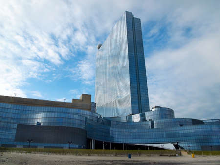 revel: ATLANTIC CITY, NJ - JULY 4, 2015: The beautiful and bankrupt Revel Atlantic City sits empty, at the northern end of the Atlantic City boardwalk in the state of New Jersey, situated on the Atlantic Ocean.