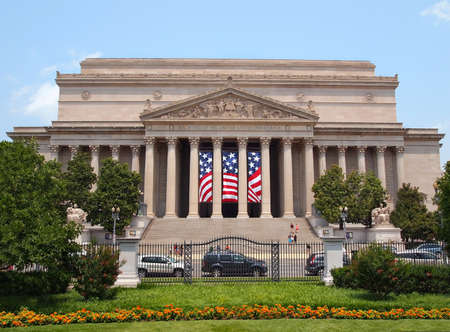 The National Archives of The United States of America, on Pennsylvania Ave. in Washington, D.C. , a building containing such important national documents as The Declaration of Independence and The Constitution, on a summer day.