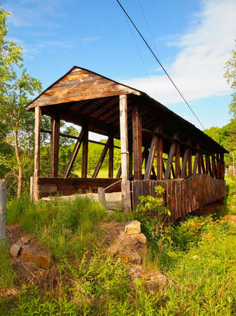 Cuppetts Covered Bridge, in Napier Township, Pennsylvania, in Bedford County, on a bright, sunny, spring day.