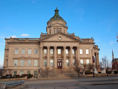 uptown: The Somerset County Courthouse, listed on the National Register of Historic Places, on a bright sunny day with a brilliant blue sky background, in Uptown Somerset.