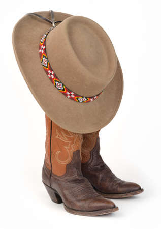 Ladies Cowboy Boots with Felt Western Hat  photo
