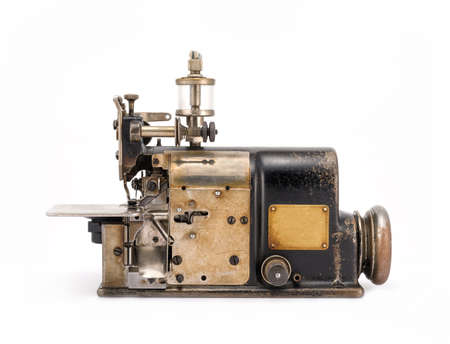 machinery: Old Industrial Sewing Machine Stock Photo