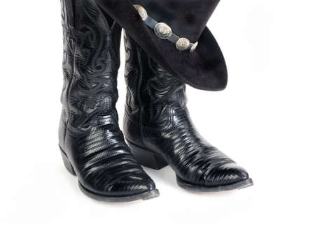 things that go together: Black Lizard Cowboy Boots and Hat with Concho Hatband