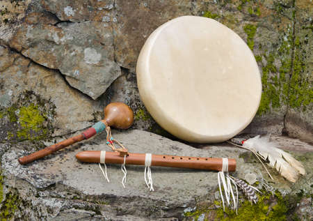 Native American Drum, Flute and Shaker