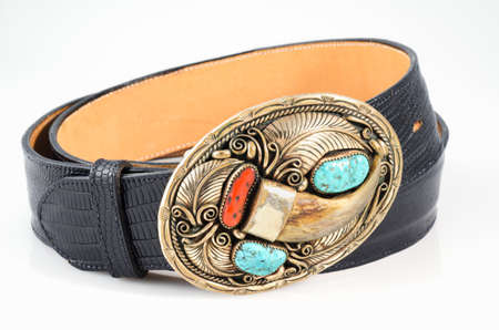 tooled leather: Snakeskin Cintura con Ornato Orso Claw Buckle