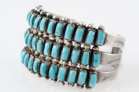 cuff bracelet: Turquoise and Silver Native American Cluster Cuff Bracelet  Stock Photo