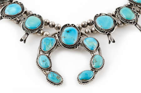 silver jewelry: Sterling Silver and Turquoise Squash Blossom Necklace