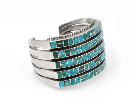 cuff bracelet: Turquoise and Silver Native American Cuff Bracelet  Stock Photo