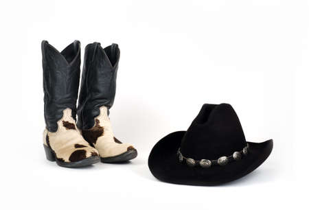 cow hide: Cow Hide Cowboy Boots and Hat with Concho Hatband