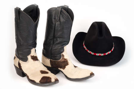 cow hide: Cow Hide Cowboy Boots and Hat with Beaded Hatband