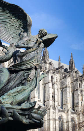 Peace Fountain Statue, and Cathedral of Saint John the Divine   photo