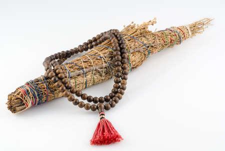 smudge: Buddhist Mala Prayer Beads with Sacred Smudge stick