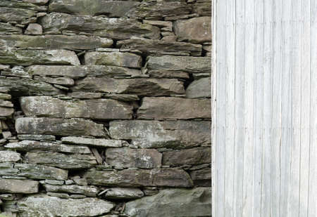 Stone Wall with Wood Siding Background  photo