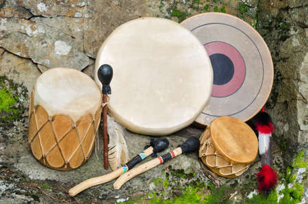 north american: Group of four, Native American Drums