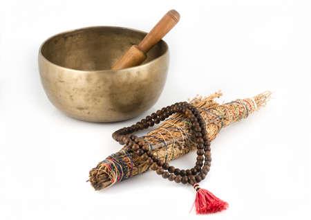 Tibetan Singing Bowl, Prayer Beads and Smudge Stick  photo