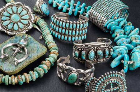 silver jewelry: Collection of Vintage Turquoise and Silver Jewelry