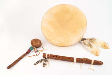 native culture: Native American Drum, Flute and Shaker - Studio Shot.