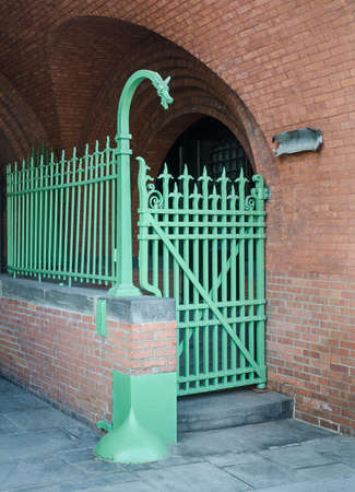allegory painting: Ornate Wrought Iron Gate and Fence with Dragon head.