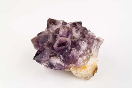 citrine: Large Amethyst Crystal with Citrine on a white background.