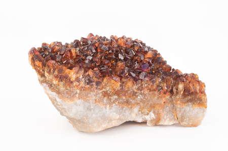 citrine: Citrine Quartz Crystal in the rough on a white background - Mineral, Gemstone.
