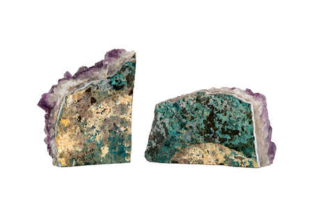 amethyst rough: Two Pieces of Colorful Amethyst Geodes, isolated on a white background.