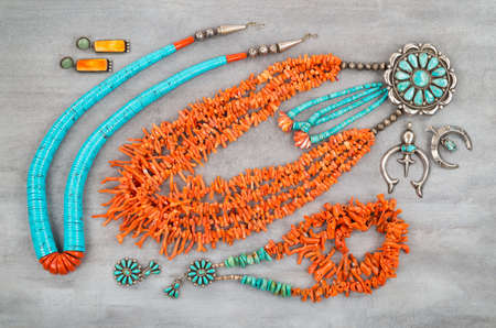 gems: A collection of Vintage Native American Jewelry made of turquoise, silver and branch coral. Stock Photo