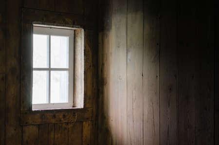 wood room: Soft Natural Light coming through Barn window to brighten Barn Board Interior.