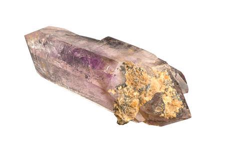 quartz crystal: Transparent medium purple amethyst quartz crystal isolated on white background.