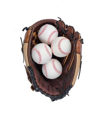 ballpark: Baseball Glove with Four Baseballs Isolated on White Background.