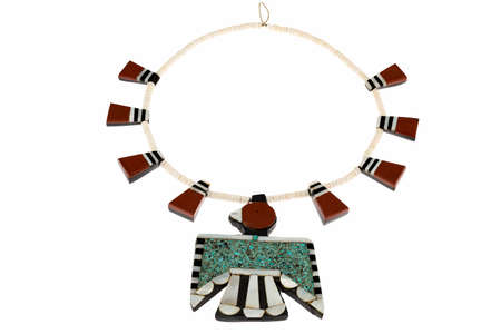 thunderbird: Native American Jewelry, Santo Domingo Turquoise and Coral Thunderbird and Tag Necklace isolated on white.
