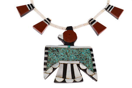 thunderbird: Close up of Native American Jewelry, Santo Domingo Turquoise and Coral Thunderbird and Tag Necklace. Stock Photo