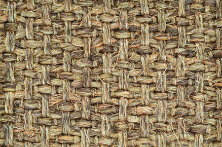 Close up of Hand Woven / Tied Rug Detail, Patterned Sisal, Hemp Background Texture. Stock Photo