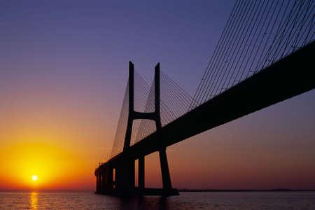 Vasco da Gama Bridge at sunrise, landscape