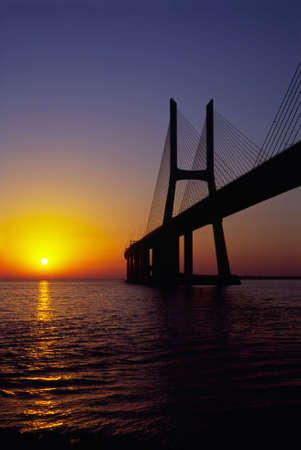 Vasco da Gama Bridge at sunrise, portrait