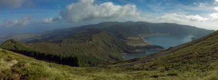 Lagoa do Fogo (Fire Laggon) landscape in the mist San Miguel island, Azores, Portugal photo