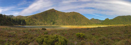 Parcial view of the moutain line seen from inside the colapsed volcano crater where lies the Lagoa do Fogo (Lagoon of Fire), San Miguel island, Azores, Portugal  Stock Photo