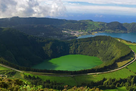 The Santiado Lagoon, and the Blue Lagoon behind, at Sete Cidades, Azores, San Miguel, Portugal