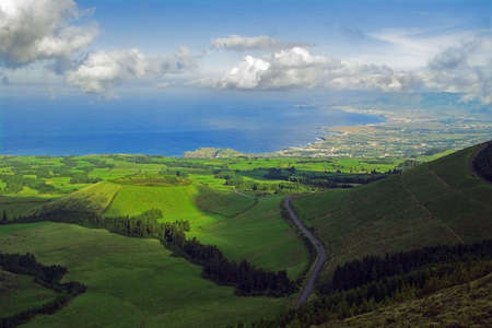 Viewpoint to the north from Pico do Carv�o, San Miguel, Azores Stock Photo