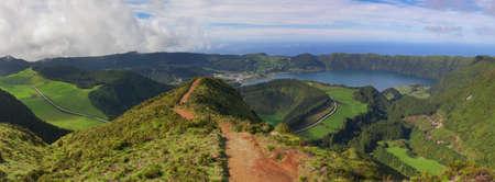 panoramics: Path to a viewpoint at Sete Cidades, San Miguel, Azores