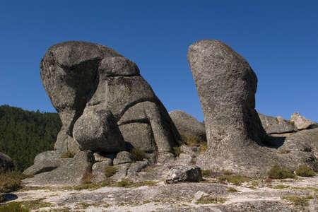 Strange rocks against a blue sky at Parque Natural do Alvão, Portugal